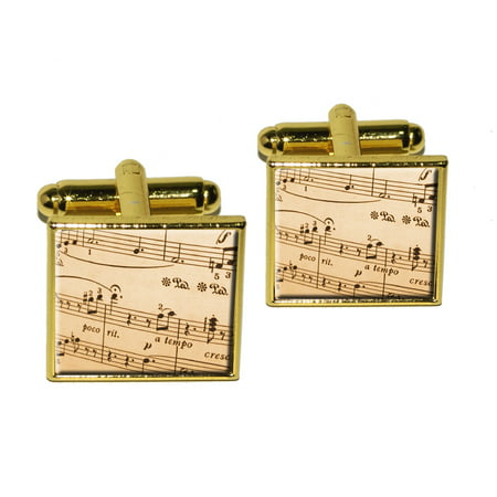 Music Musical Sheet Notes Vintage - Treble Clef Square Cufflinks