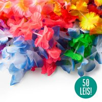 50 Tropical Hawaiian Leis Bulk Party Favors - Hawaiian Necklace Flower Leis