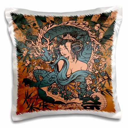 3dRose Beautfiul Grunge Style Japanese Geisha Girl Woman And Dragon Oriental Asian Design - Pillow Case, 16 by 16-inch