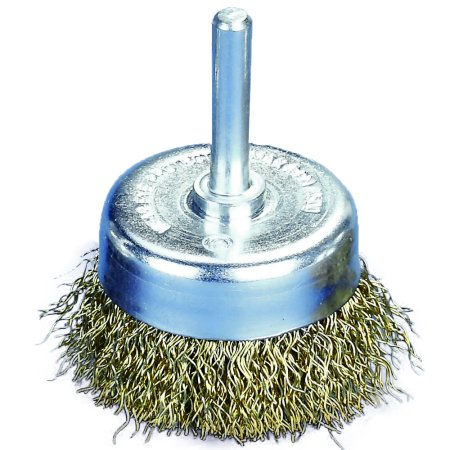 Robtec 2 in. x 1/4 in. Shank Crimped Brass Coated Steel Wire Cup Brush