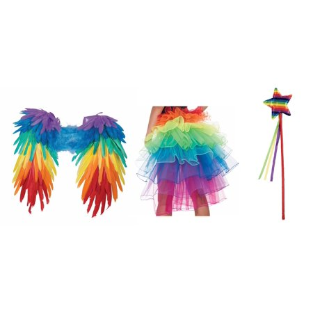 Rainbow Gay Lesbian Pride Feathered Wings Tutu Crinoline Star Wand Costume Kit - G-a-y Halloween London