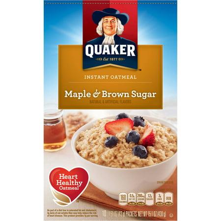 Quaker Maple & Brown Sugar Instant Oatmeal, 15.1 oz - Walmart.com