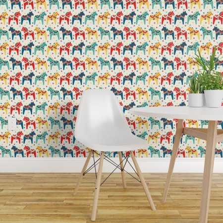 Peel and Stick Removable Wallpaper Swedish Traditional Colorful Horse