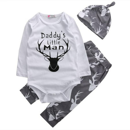 Newborn Baby Boys Daddy's Little Man Long Sleeve Bodysuit Deer Pants Outfit with Hat 0-6M