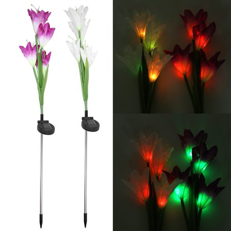 Ejoyous 2Pcs Solar Power LED 4 Heads Calla Flower Night Lamp Light for Home Garden Lawn Decoration, Lawn Decor Lamp, Solar Calla Flower Light (Solar System Decorations)