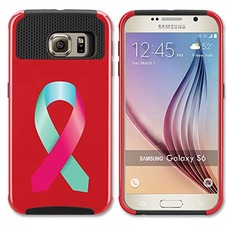 Red Awareness Ribbon (For Samsung Galaxy (S6 Edge + Plus) Shockproof Impact Hard Soft Case Cover Thyroid Cancer Color Awareness Ribbon)