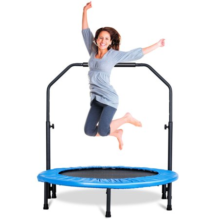 Gymax Mini Rebounder Trampoline With Adjustable Hand Rail Bouncing Workout