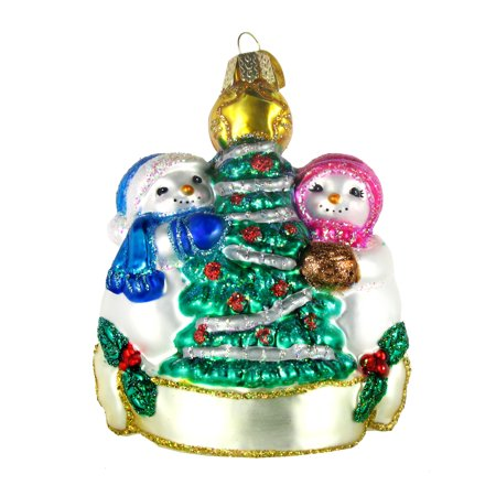 Old World Christmas Snowman Christmas Couple Glass Ornament