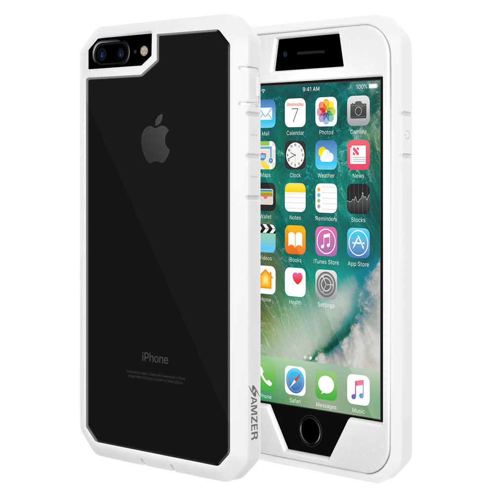 iPhone 7 Plus Full Body ScratchProof Guard Case with Built-in Screen Protector Coverage - White