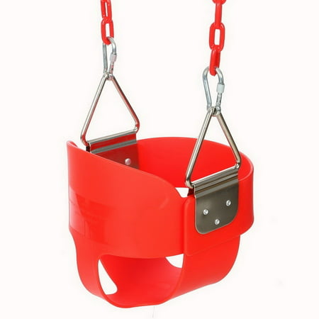 Heavy-Duty Full Bucket Toddler Swing Seat with Coated Swing Chains Fully Assembled Nice Gift for Children BYE