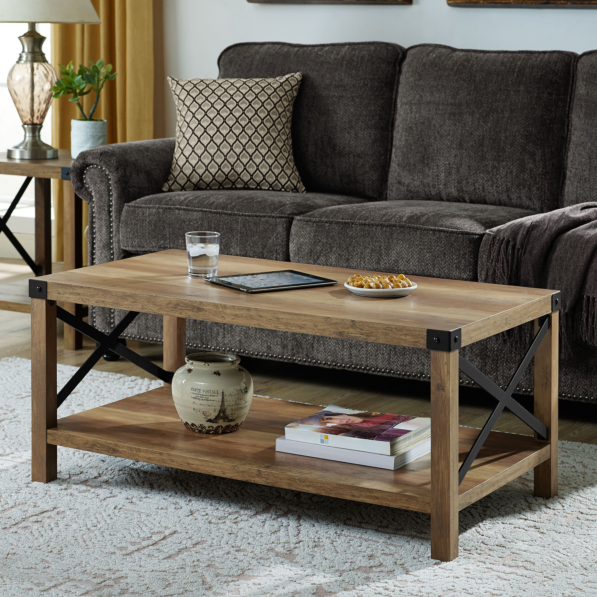 "Manor Park 40"" Rustic Urban Industrial Metal X Coffee Table - Reclaimed Farmhouse/Black"