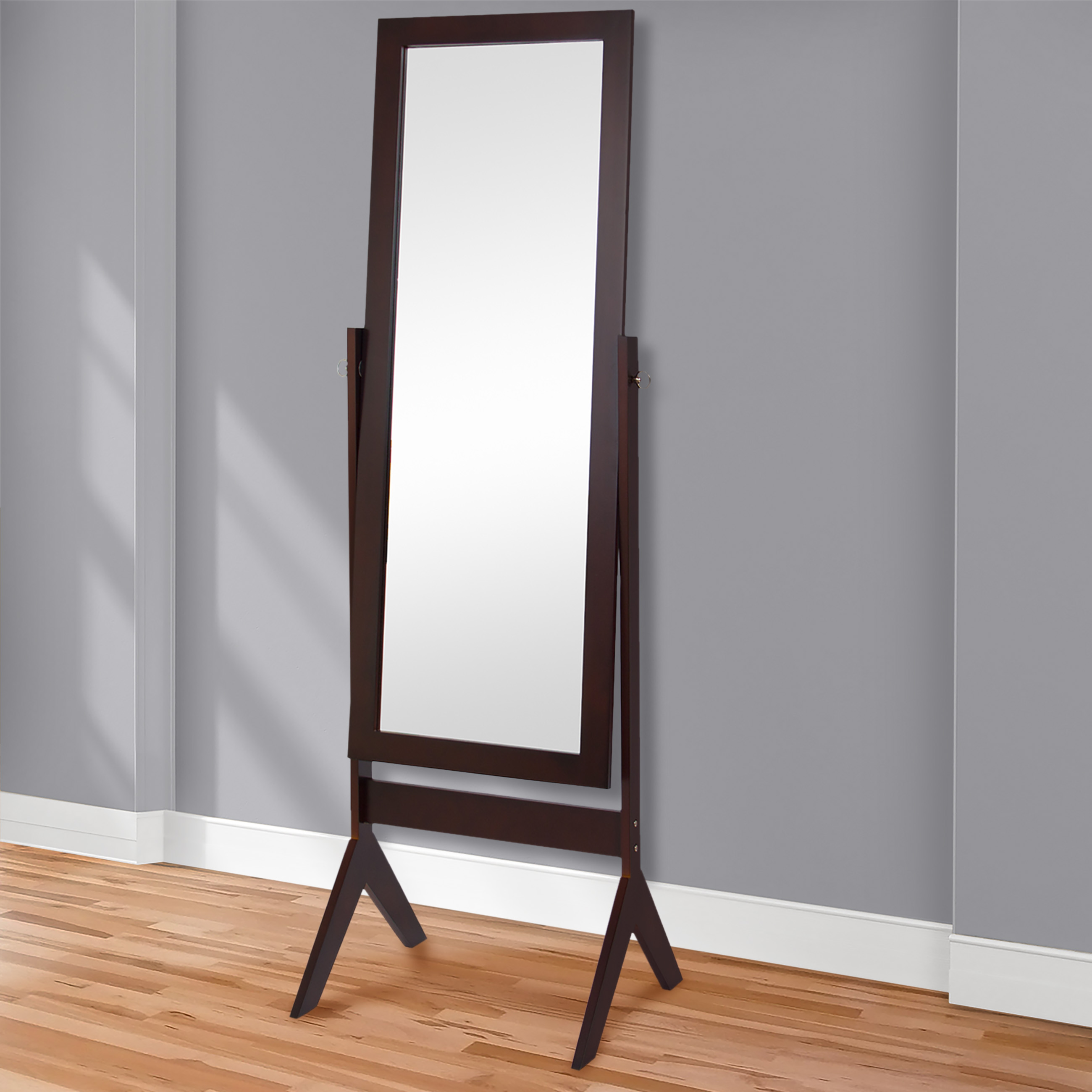 Best Choice Products Cheval Floor Mirror Bedroom Home Furniture- Espresso Brown by