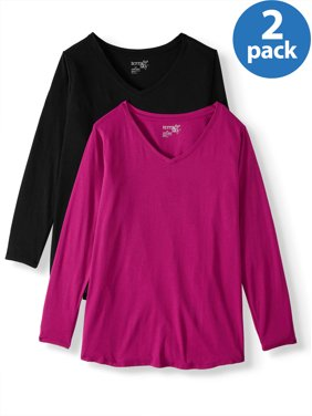 Terra & Sky Women's Plus Size Long Sleeve Everyday Essential V-Neck T-Shirt, 2-Pack Bundle