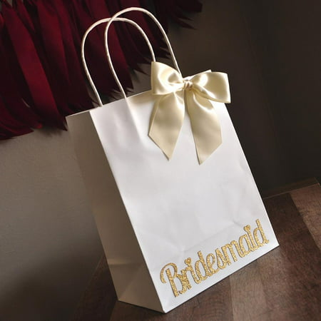 Bridesmaid Gift Bags. Ships in 1-3 Business Days. Large White Paper Bags with Handle. Bridesmaid Gift Ideas. W8KFT. - Gift Bags Ideas