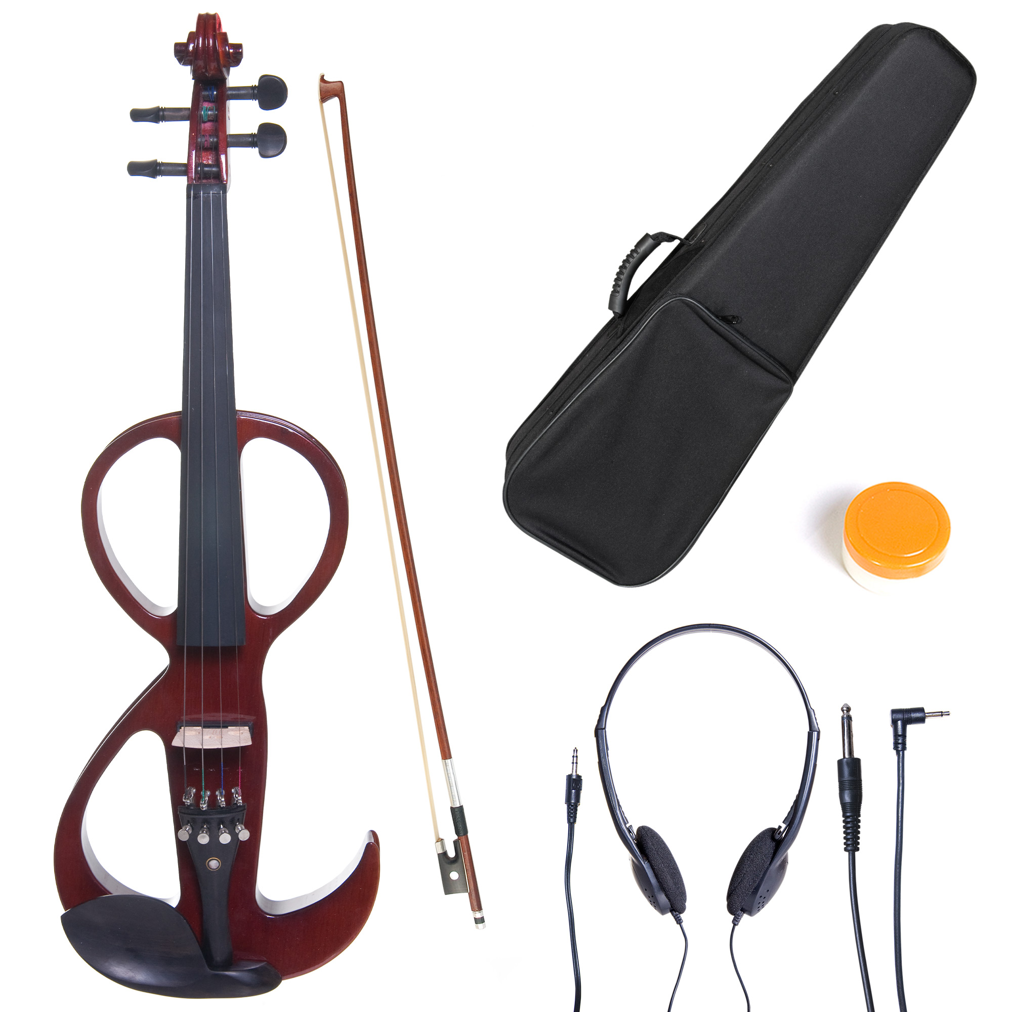 Cecilio 4/4 CEVN-3NA Solidwood Metallic Mahogany Electric/Silent Violin with Ebony Fittings-Full Size