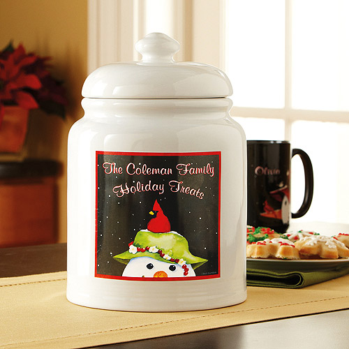 Personalized Friendly Snowman Cookie Jar