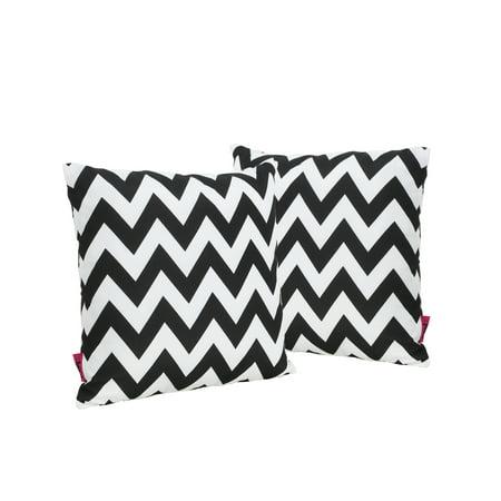 Embry Outdoor Water Resistant Square Throw Pillow, Set of 2, Black and White Chevron - Black And White Chevron