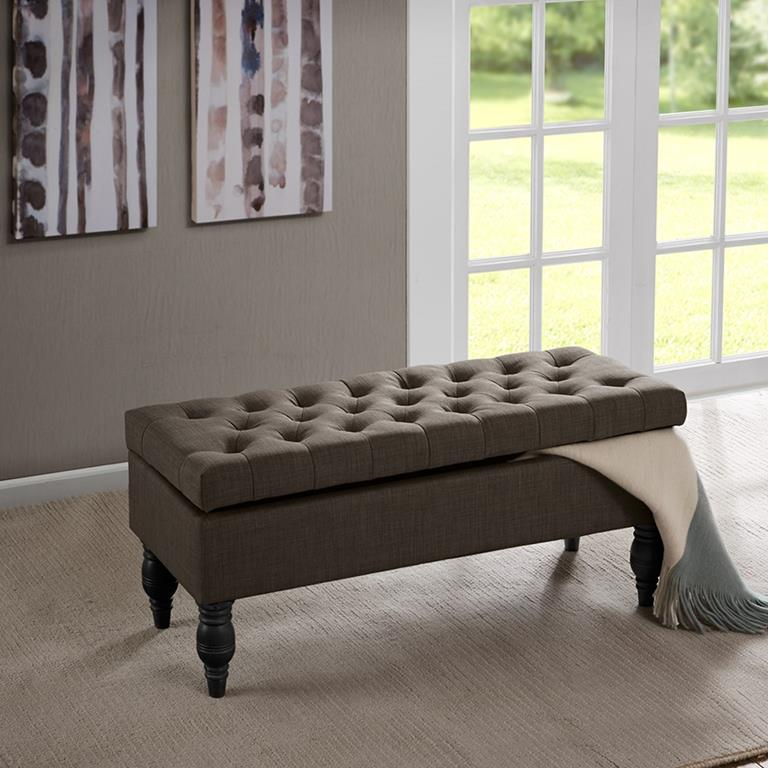 Madison Park Luxe Bench In Linen