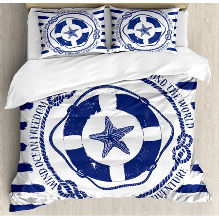 Starfish Duvet Cover Set, Trip Around the World Nautical Emblem with Lifebuoy Starfish Striped Design, Decorative Bedding Set with Pillow Shams, Navy Blue White, by Ambesonne