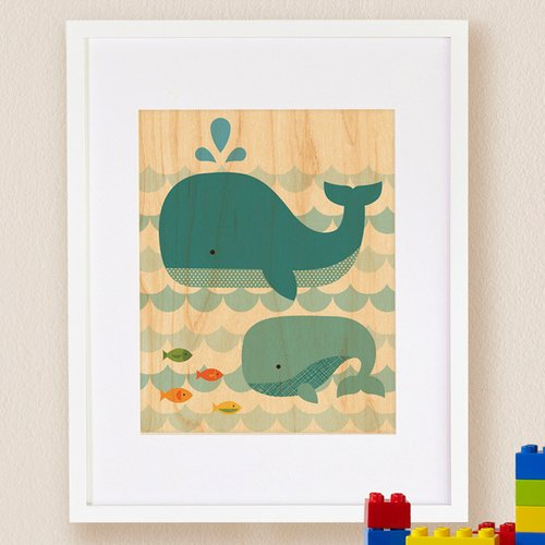 Petit Collage Whale Baby, Small, Framed Art