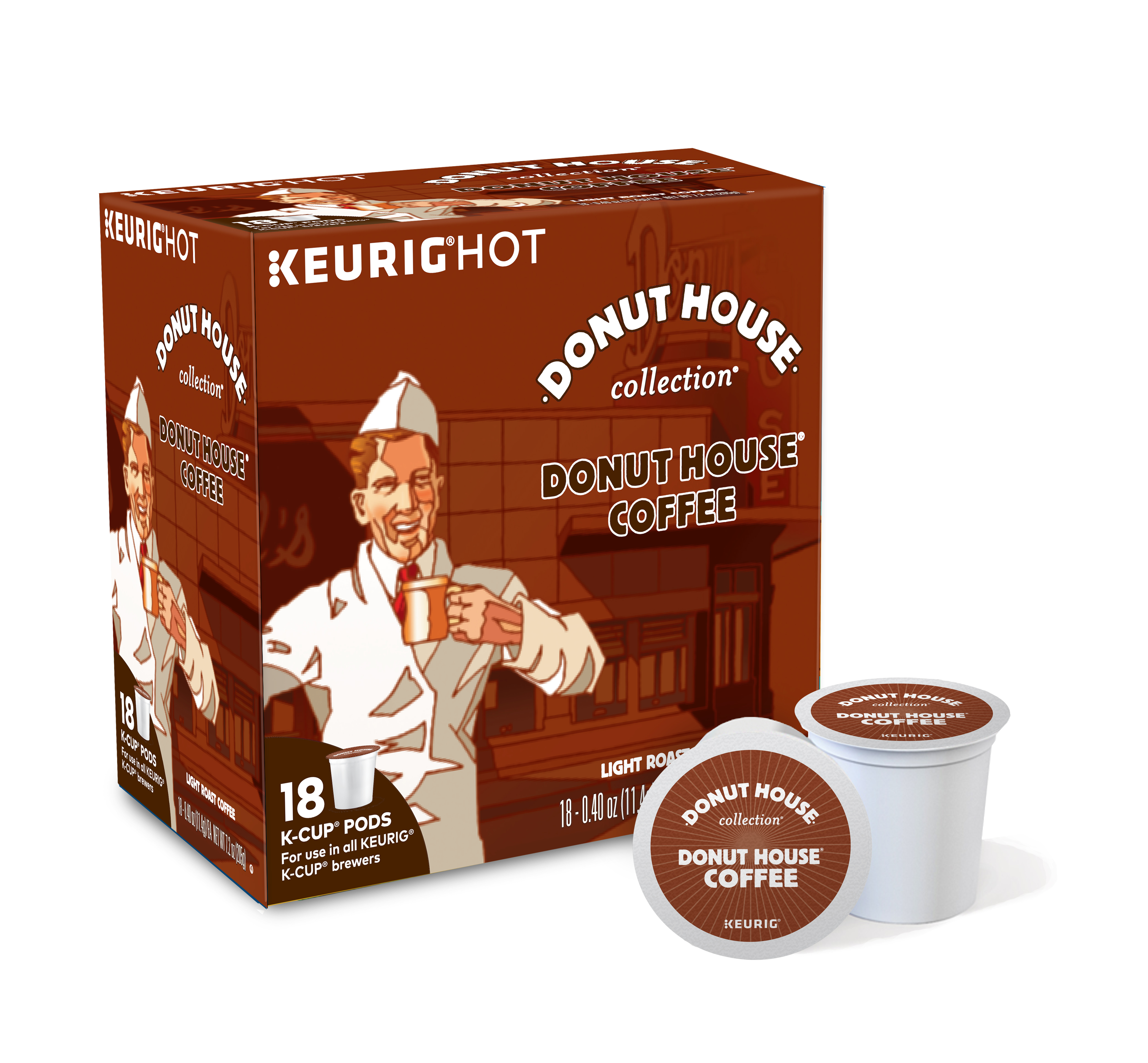 Donut House Collection K-Cup Pods, Light Roast Coffee, 18 Count