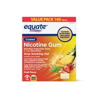 Equate Coated Nicotine Polacrilex Gum, 4 mg (nicotine), Fruit Flavor, Stop Smoking Aid,160 Count