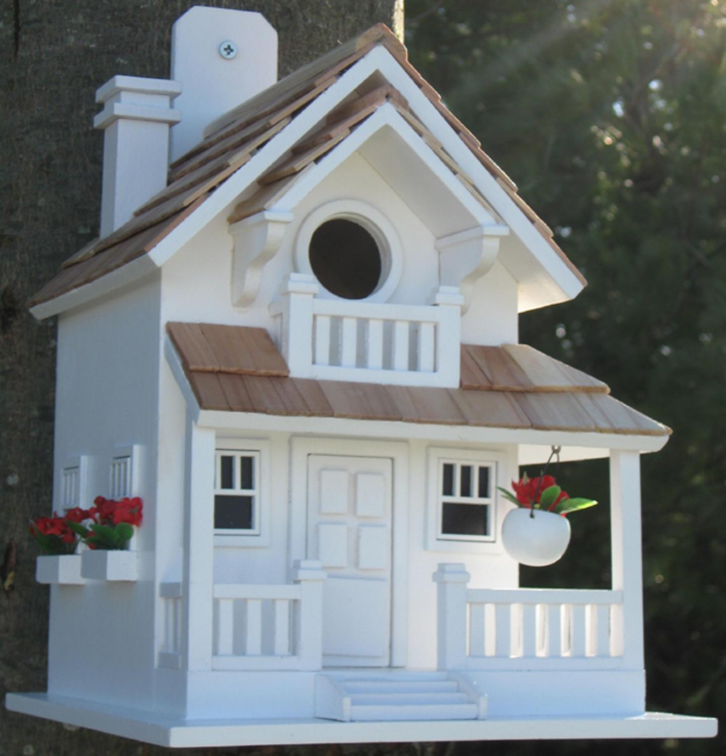 "11"" Fully Functional White Courtyard Cottage Outdoor Garden Birdhouse"