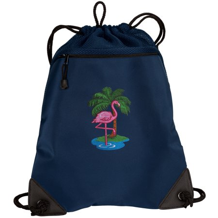 Pink Flamingo Cinch Pack Backpack TWO SECTION Flamingos Drawstring Bag with Unique Mesh & Microfiber Sections](Mesh Drawstring Backpack)