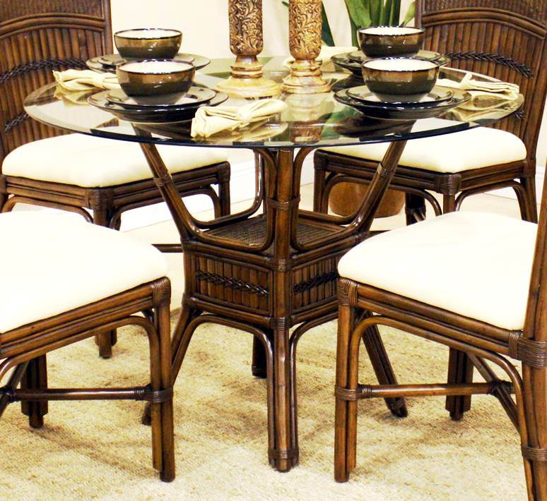 Polynesian Round Dining Table in Antique w 42 in. Beveled Glass