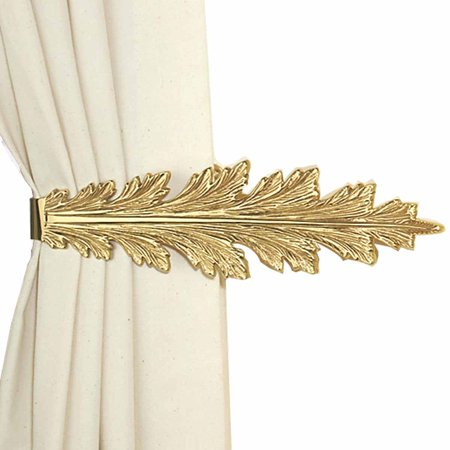 Vintage Pair Curtain Tie Back Holder Fern Leaf Bright Brass | Renovators Supply