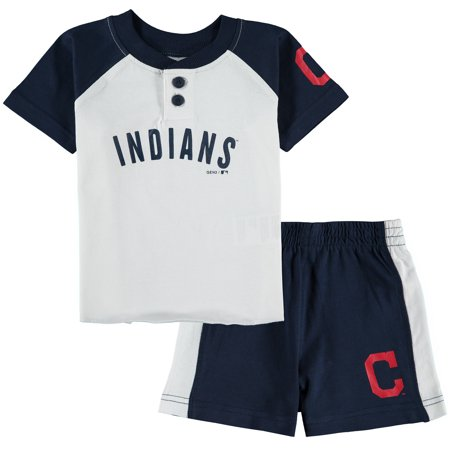 Cleveland Indians Infant Good Hit Henley T-shirt & Shorts Set -