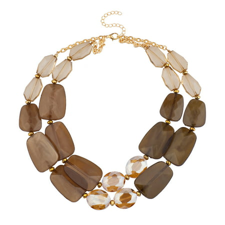 Lux Accessories Gold tone Brown Elegant Gemstones Collar Statement Necklace