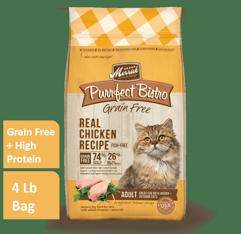Merrick Purrfect Bistro Grain-Free Chicken Healthy Adult Dry Cat Food, 4 lb