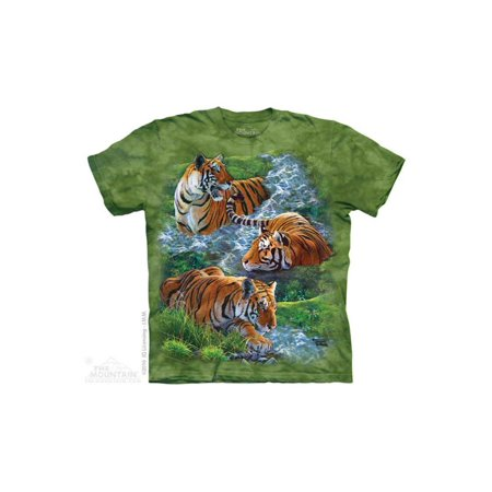 Water Tiger Collage T-shirt The Mountain Green Kids Unisex 100% Cotton Short - Green Tiger