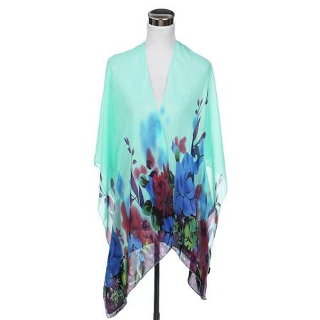 Sheer Cover Ingredients (TrendsBlue Elegant Chiffon Floral Sheer Kimono Wrap Cardigan Beach Cover Up)