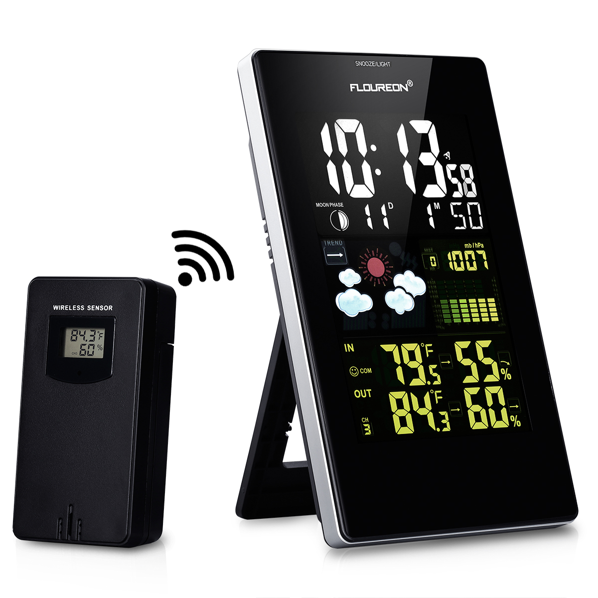 Floureon Wireless Color Weather Station with In/Outdoor T...