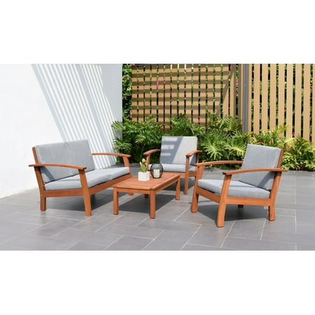 Amazonia Cahais Wood 4 Pieces Patio Conversation Set with Comfortable Gray Cushions ()