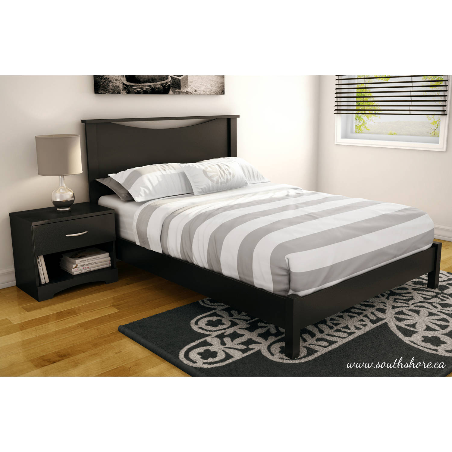 south shore soho queen platform bed u0026 headboard with 2 nightstands multiple finishes walmartcom