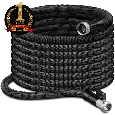 """InGarden 100ft Expandable Garden Hose - Lightweight Kink Free Flexible Water Hose with Double Latex Core, 3/4"""" Solid Brass Rust-Proof Fittings, Extra Strength Fabric, with Storage Bag"""