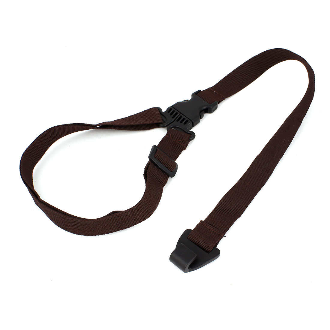 Unique Bargains Black Acoustic UKLL Guitar Side Release Buckle Dark Brown Nylon Strap