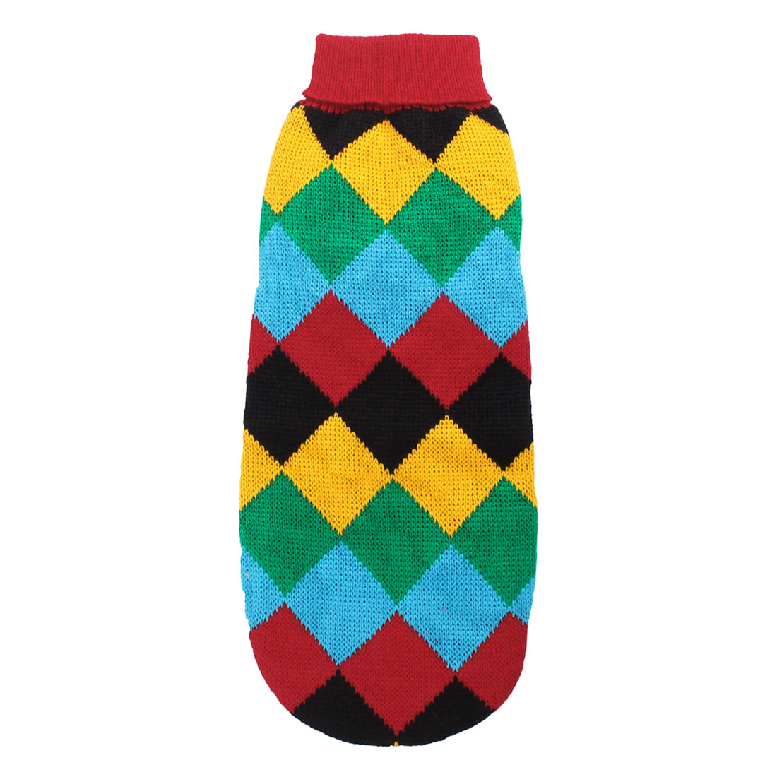 Unique Bargains Warm Ribbed Cuff Argyle Printed Pet Dog Yorkie Apparel Sweater Multi Colors S