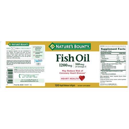 Nature's Bounty Fish Oil, 1200 mg, 120 ct, Omega-3 Softgels