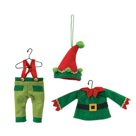 Whimsical Christmas Elf Outfit Ornaments