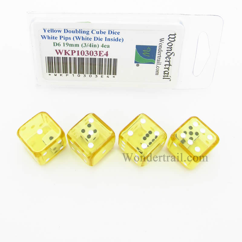 Yellow Doubling Cube Dice with White Pips D6 19mm (3/4in) (White Die Inside) Pack of 4 Wondertrail