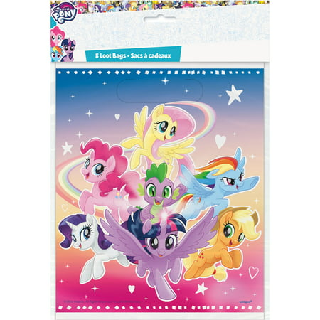 Plastic My Little Pony Goodie Bags, 9 x 7 in, 8ct (My Little Pony Gift Bag)