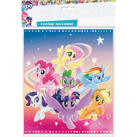 Plastic My Little Pony Goodie Bags, 9 x 7 in, 8ct - My Little Pony Party Tote Bag