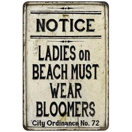 Ladies on Beach Must Wear Bloomers Vintage Look Chic Distressed 12x18112180020237 (Vintage Bloomers)