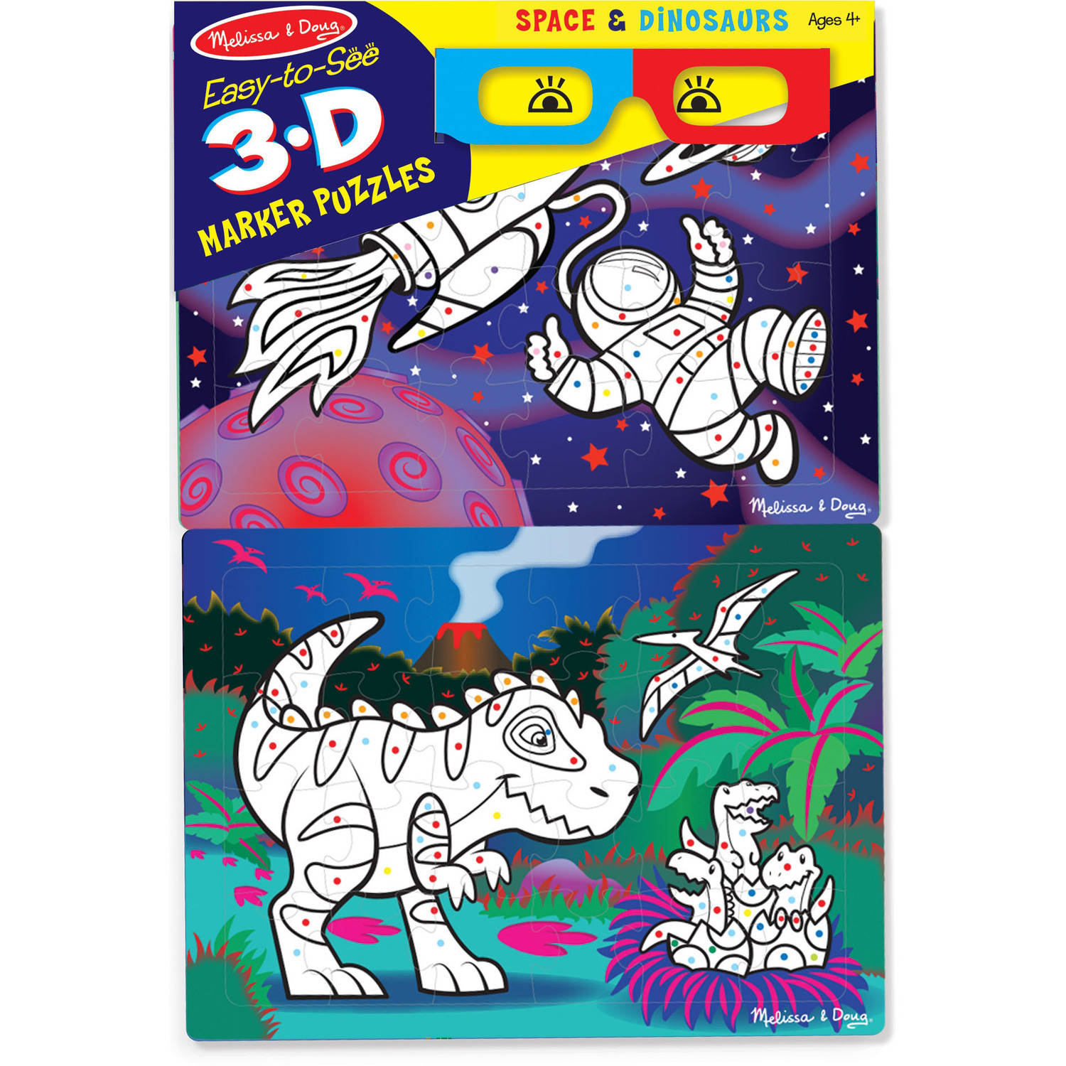 Melissa & Doug Easy-to-See 3D Marker Coloring Puzzles, Space/Dinosaurs