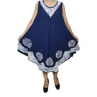 Mogul Womens Summer Sleeveless Casual Swing Tank Dress Umbrealla Cover Up Batik Embroidered Loose Comfy Sundress
