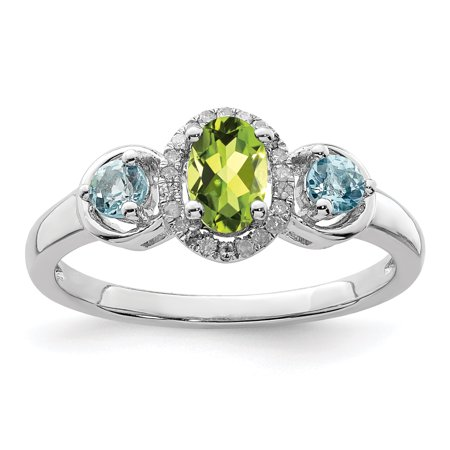 478989bac71a4 925 Sterling Silver Green Peridot Blue Topaz Diamond Band Ring Size 9.00  Gemstone For Women